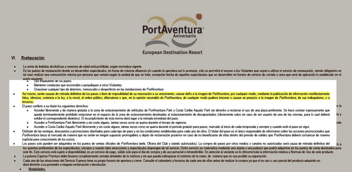 Las polémicas normas de PortAventura te avisan de que te pueden retirar el pase si les criticas en las redes sociales.