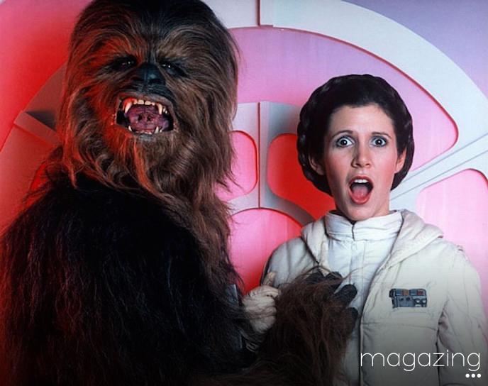 Carrie Fisher Chewbacca teta magazing